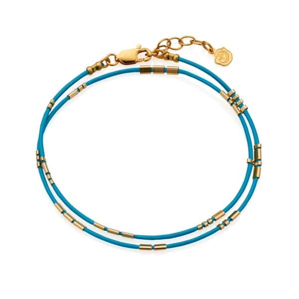 Morse Code Bracelet Turq gold