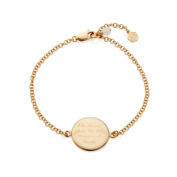 Gold Engraved Disc Bracelet