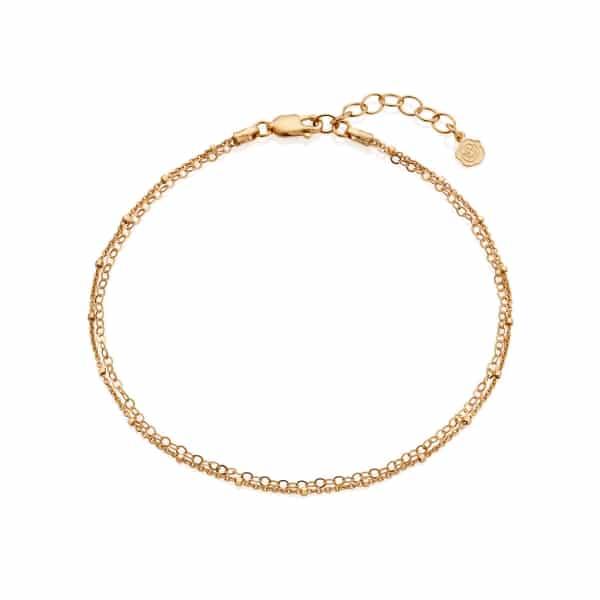 Gold Double Strand Bobble Anklet
