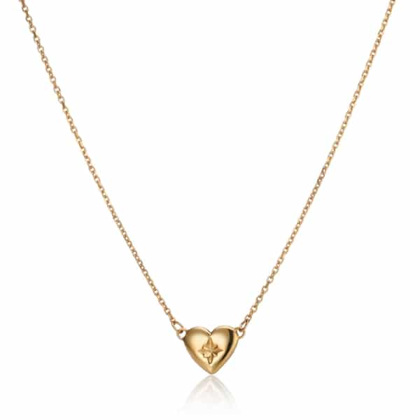 Gold North Star Heart Necklace