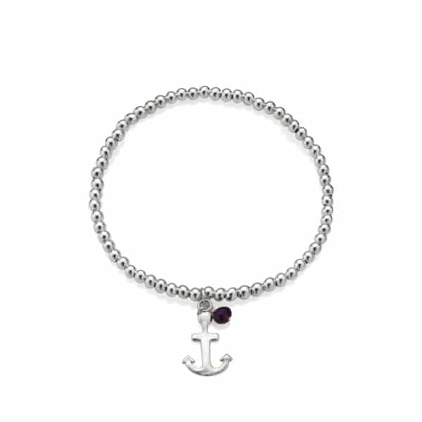 Anchor Beaded Birthstone Bracelet