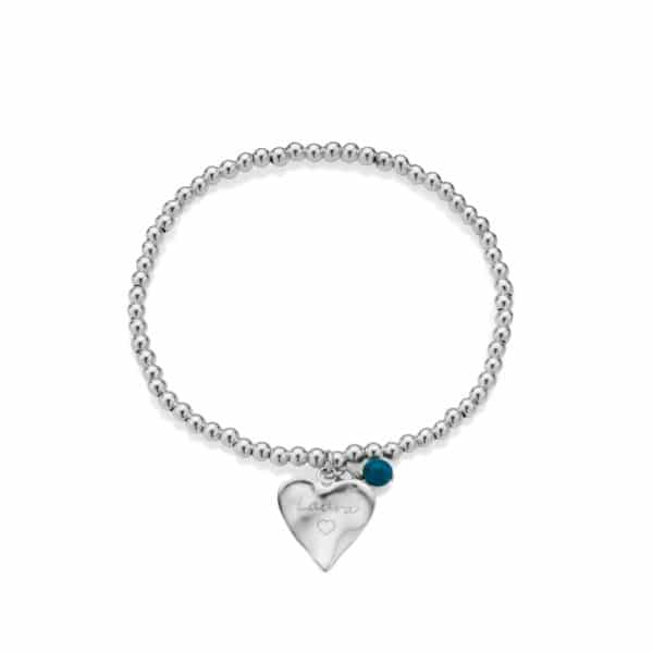 Engraved Beaded Heart Bracelet