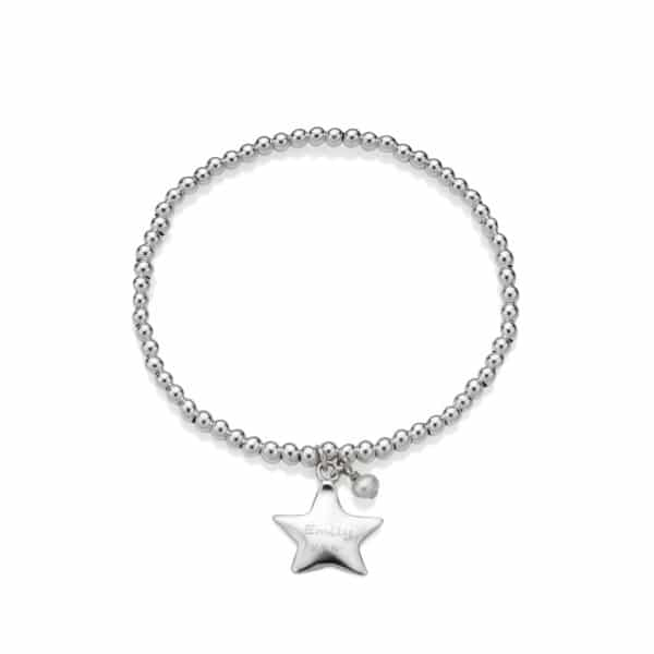 Engraved Beaded Star Bracelet