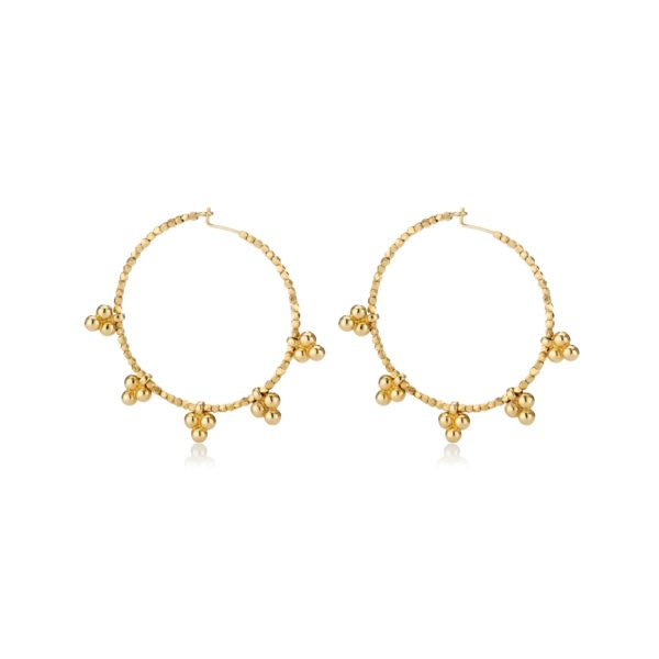 Gold Signiture Bead Hoop Earrings