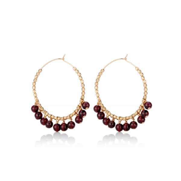 Yellow Gold Garnet Hoops x2
