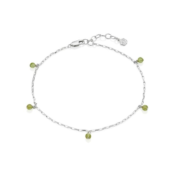 Silver August Birthstone Anklet