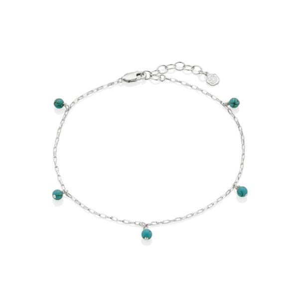 Silver December Birthstone Anklet