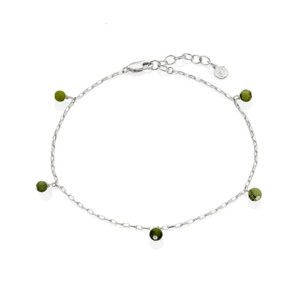 Silver May Birthstone Anklet