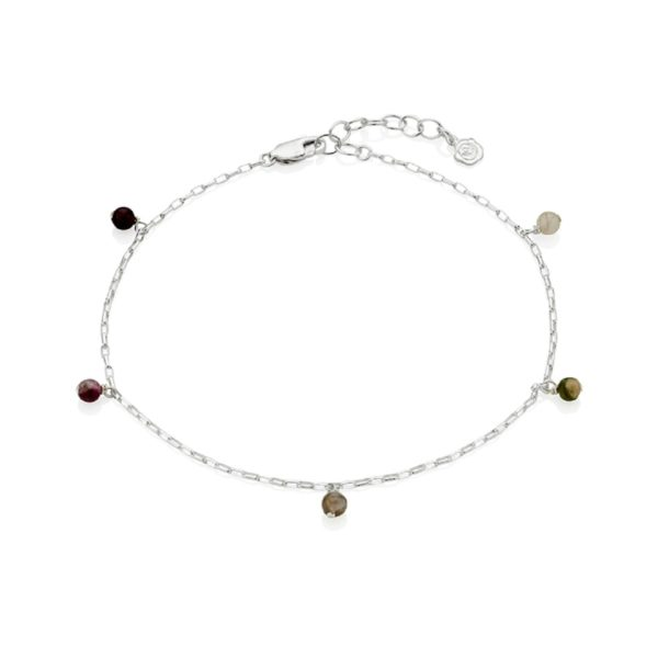 Silver October Birthstone Anklet