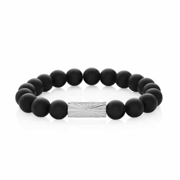 Mens Beaded Bracelet Black_1